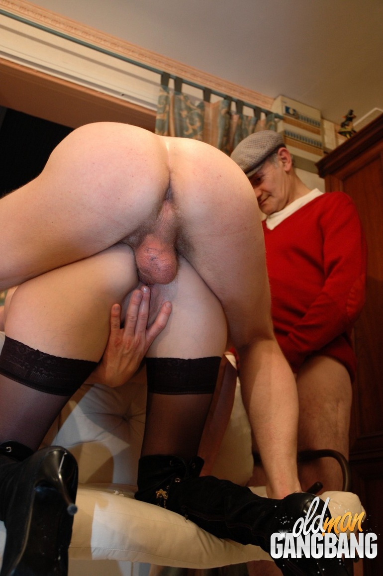Milf in stockings gangbanged on cough