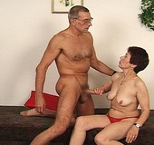 Dirty granny swallows a stiff rod passionately…