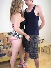Busty blonde tranny in a striped skirt - XXX Dessert - Picture 6
