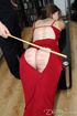 Hot chick in a red dress gets it cut and her booty caned hard