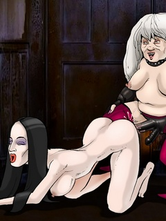 Lewd Grandmama Addams pounding badly Morticia with - Picture 1