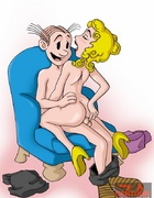 Horny Dagwood is happy to screw his boner into Blondie's muff and pooper