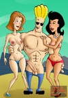 Blonde handsome Johnny Bravo pleasing slutty bitches with his thick schlong