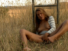 Long-haired blonde chick in a striped blouse - XXXonXXX - Pic 4