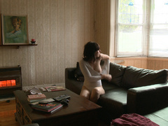 Brunette teen girl in a white body fondling her - XXXonXXX - Pic 5
