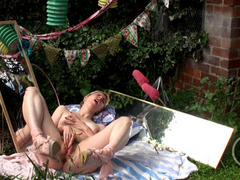 Naughty blond teen girl masturbating in the garden - XXXonXXX - Pic 3