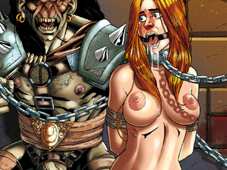 Horny drawn monster gets enchained and - BDSM Art Collection - Pic 1