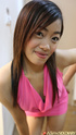 Lovely Asian teen btich in a pink top and bikini…
