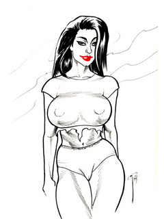 Stylish black and white artwork with busty beauties - Picture 2