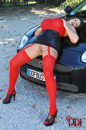 Gorgous babe in red top and stockings po - XXX Dessert - Picture 6
