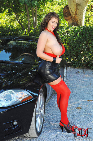 Gorgous babe in red top and stockings po - XXX Dessert - Picture 7