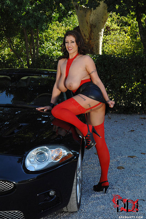 Gorgous babe in red top and stockings po - XXX Dessert - Picture 11