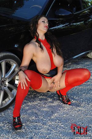 Gorgous babe in red top and stockings po - XXX Dessert - Picture 12