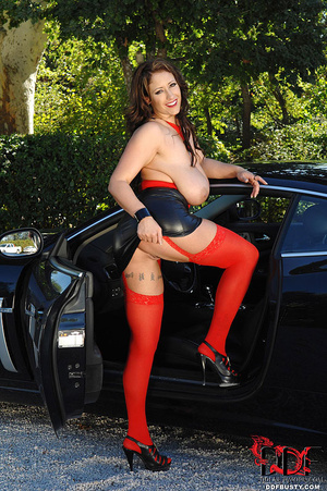 Gorgous babe in red top and stockings po - XXX Dessert - Picture 15