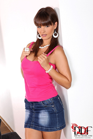 Sexy brunette babe in a jeans skirt undr - XXX Dessert - Picture 1