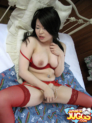 Busty Japanese slut in a red lingerie and - XXXonXXX - Pic 5