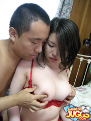 Busty Japanese slut in a red lingerie and - XXXonXXX - Pic 7