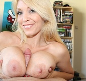 Lustful blonde mom with awesome natural tits…