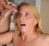 Nasty blonde milf in a funny lingerie swallows…