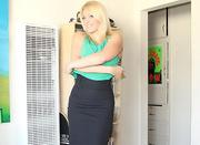 hot blonde milf undresses
