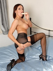 Lustful brunette chick in vintage nylons - XXX Dessert - Picture 11