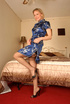 Nasty blonde mom in a blue dress takes it off to…