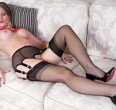 Dirty bitch in red beads and vintage stockings and…