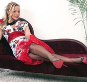 Sexy blonde mom in red vintage gloves and nylons…