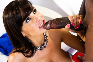 Busty brunette mom with a necklace takes a cool facial after hot jumping on a black schlong - XXXonXXX - Pic 15