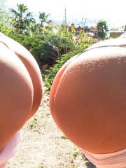 Two slutty chicks in white pantyhoses posing on - XXXonXXX - Pic 11
