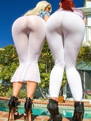 Two slutty chicks in white pantyhoses posing on - XXXonXXX - Pic 15