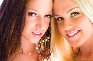 Blonde and brunette teen sluts get naked and demonstrate their fresh lovely bodies - XXXonXXX - Pic 1