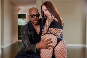 Ginger bitch in fishnet body gets her twat drilled with a thick black boner - XXXonXXX - Pic 1