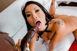 Magnificent Asian babe takes cool facial load of cum from a thick black dick - XXXonXXX - Pic 15