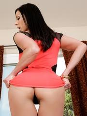 Pretty brunette mo in a red dress swallows a stiff - XXXonXXX - Pic 4