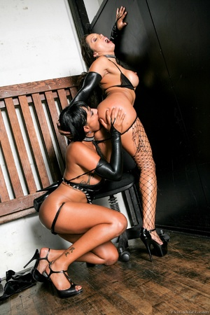 Hot ebony babe in latex gets her pooper drilled with a dildo by horny bitch before teaming a stiff rod - XXXonXXX - Pic 2