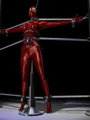 Hot 3d toon girl bound to a bdsm device - BDSM Art Collection - Pic 1