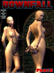 Two bald slave-girls joined with chains - BDSM Art Collection - Pic 2