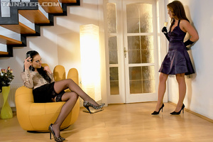 Two bodacious clothed chicks in stockings serving a dude together - XXXonXXX - Pic 1