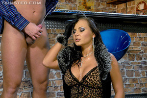 Hot brunette Nataly in sexy dress and stockings gets sprayed with jizz after dirty fucking - XXXonXXX - Pic 8