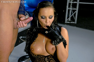 Hot brunette Nataly in sexy dress and stockings gets sprayed with jizz after dirty fucking - XXXonXXX - Pic 15