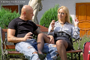full-clothed blonde bitch stockings