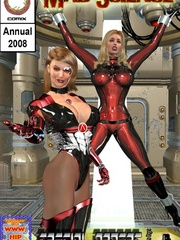 Poor chick in a red suit fixed in a - BDSM Art Collection - Pic 1