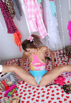 Sexy Asian teen girl posing on cam in funny lingerie - XXXonXXX - Pic 3