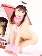 Pretty Asian girl poses in Santa's uniform on - XXXonXXX - Pic 5
