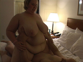 Dirty fat bitch riding on bald dude's boner passionately - Picture 2