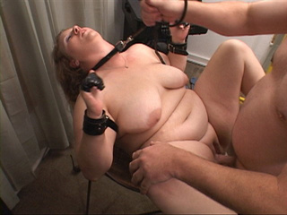 Dominated BBW in dog-leash and cuffs gets her both holes - Picture 1