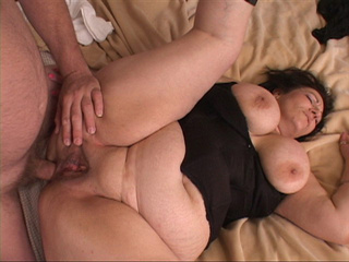 Dirty fat MILF bitch in dress and high boots gets her - Picture 1