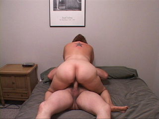 Chubby mom with a tattoo jumping on a boner passionately - Picture 1