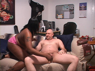Chubby ebony mom in a pink thong demonstrating her - Picture 4